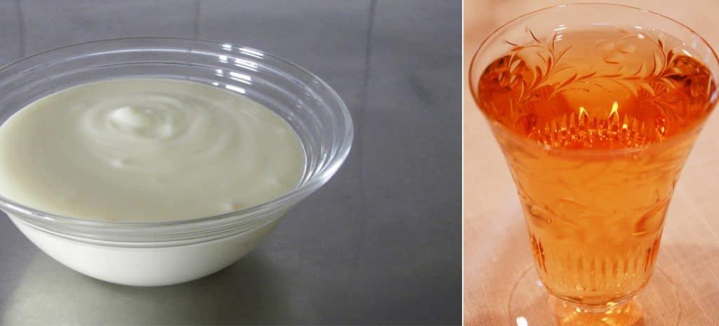 Yoghurt + appelazijn (apple cider) + honing
