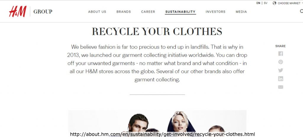 H&M webpagina met in hoofdletters RECYCLE YOUR CLOTHES